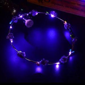 Purple LED Light Up Festival Wreath Headband